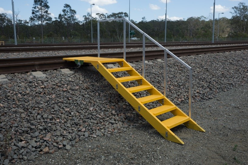 Rail personnel access rail tracks for train breakdowns, repair and maintenance with our composites ballast stair system.