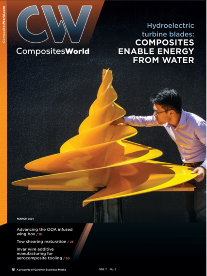 Composites World Front Cover March 2021 - ACS Australia's Adrian Chiem & Kinetic NRG composite hydroelectric turbine